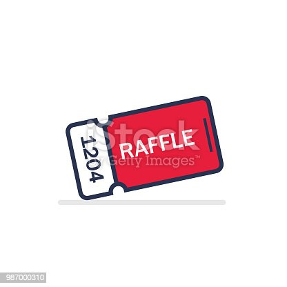 Raffle ticket. Vector flat design