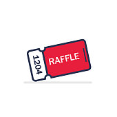 Raffle ticket. Vector flat design