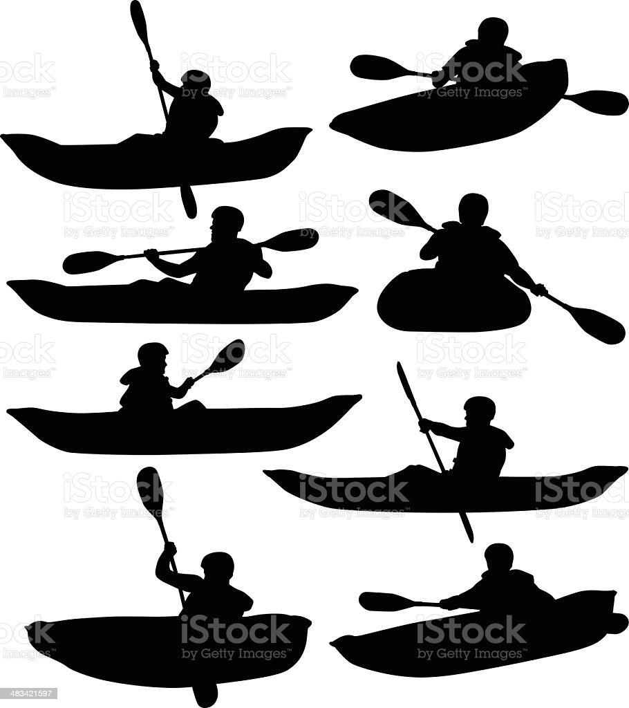 Rafting y navegación en kayak - ilustración de arte vectorial