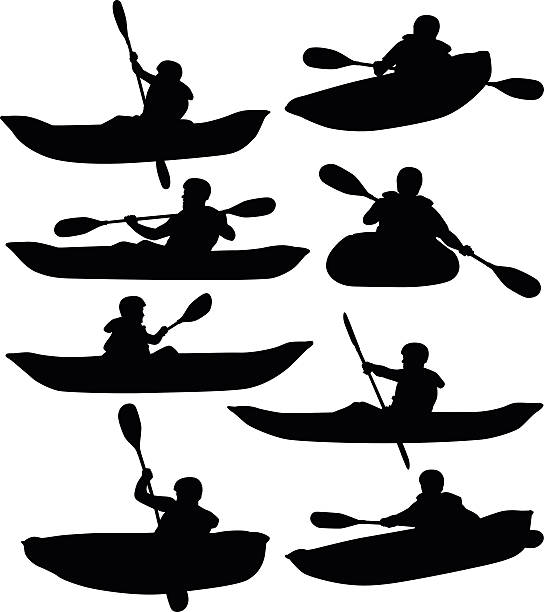 rafting and kayaking - kayaking stock illustrations, clip art, cartoons, & icons