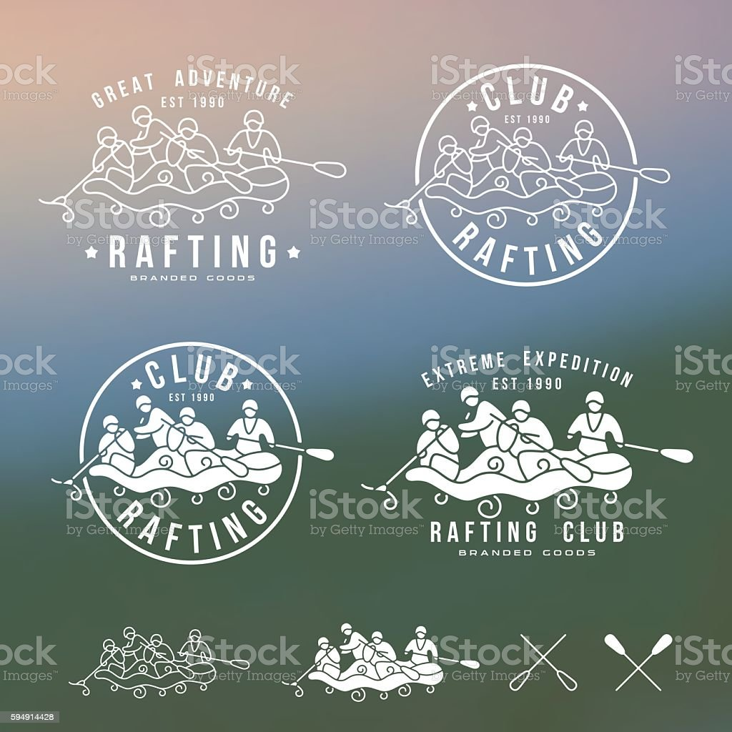 Rafting club emblem and design elements vector art illustration