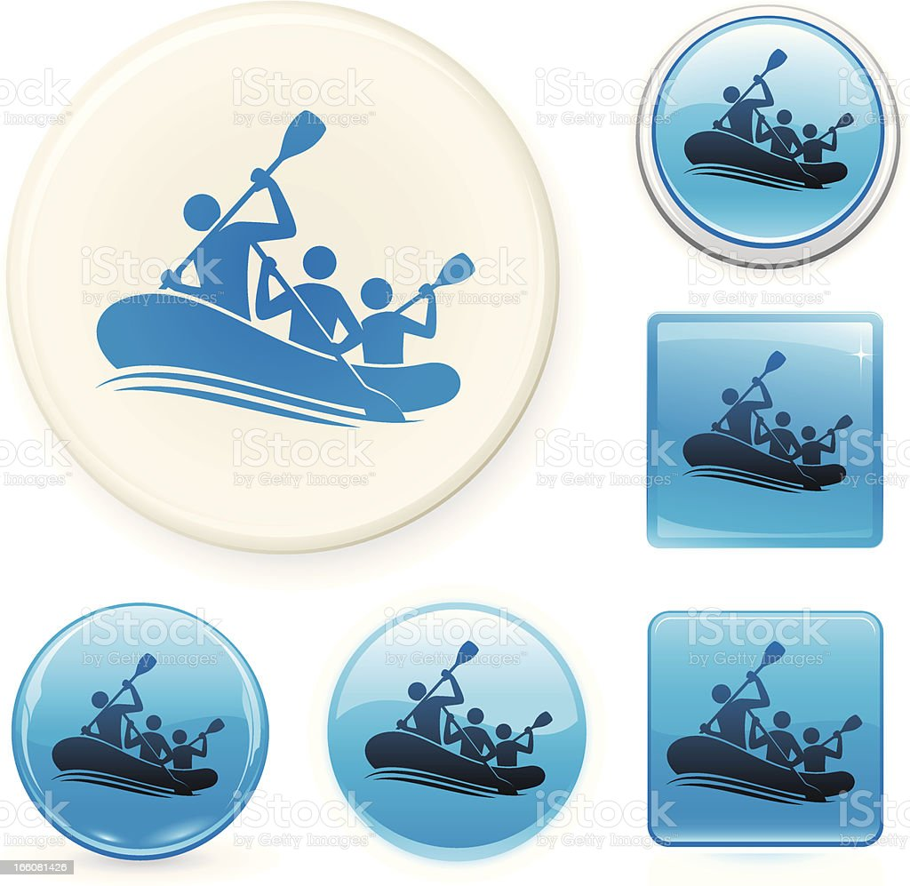 Rafting icon set vector art illustration