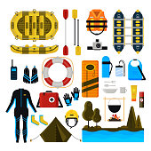 Rafting icon set. Vector illustration of white water rafting sport equipment, protective gear and camping items isolated on white background.