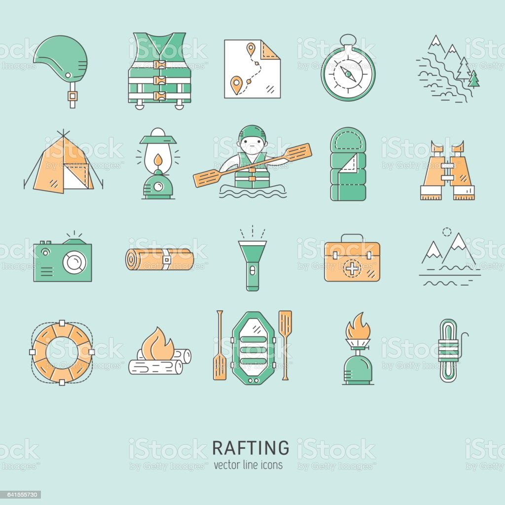 Rafting icons set vector art illustration