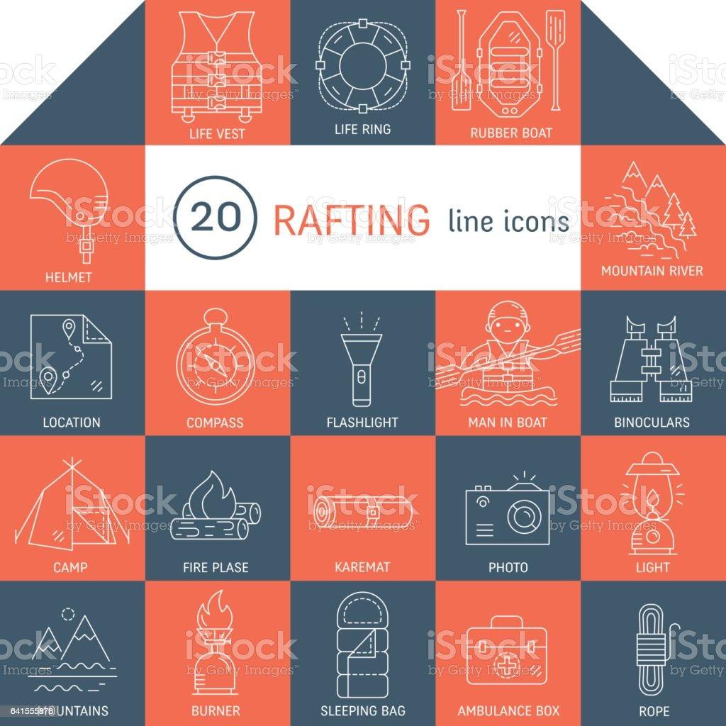 Rafting icons set vector art illustration