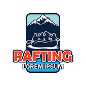 rafting insignia with text space for your slogan / tag line, vector illustration