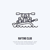 Rafting, kayaking flat line icon. Vector illustration of water sport - happy rafters with paddles in river raft. Linear sign, summer recreation pictograms for paddling gear store.