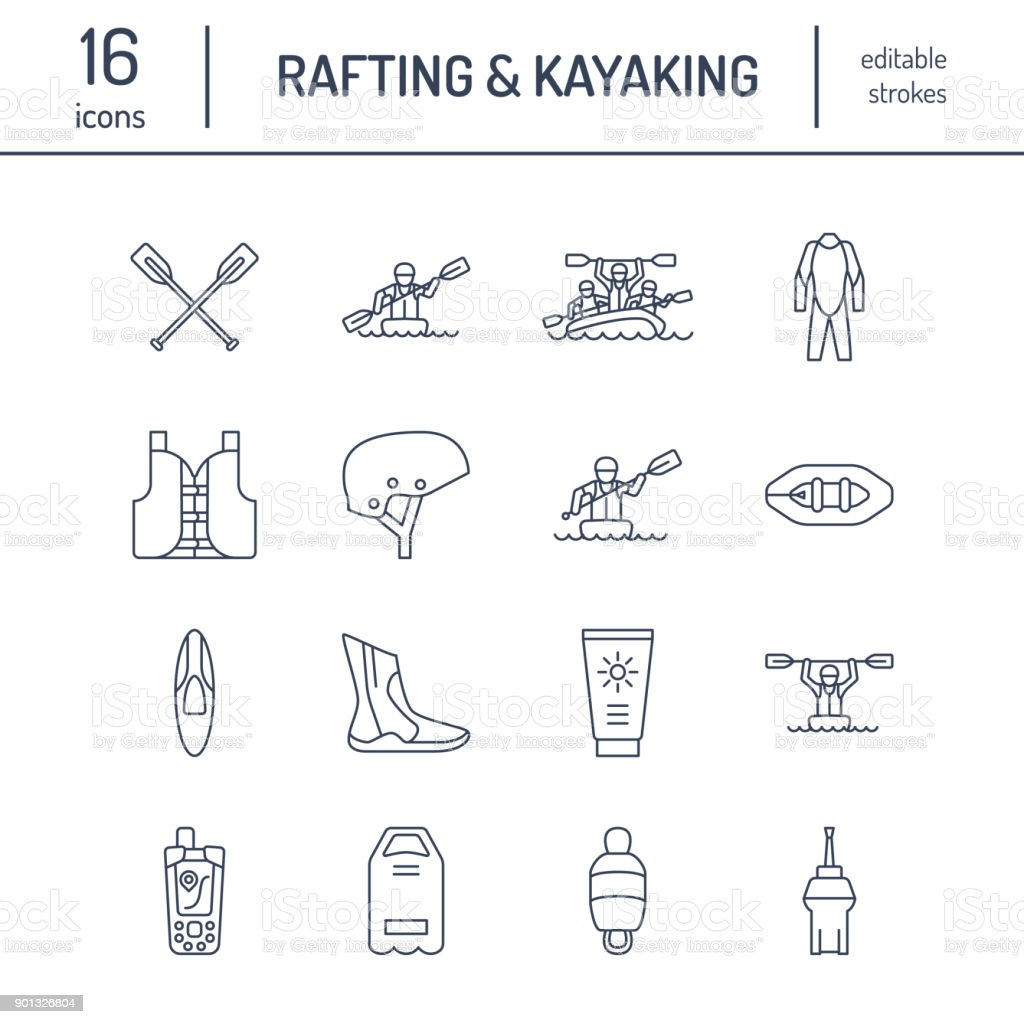 Rafting, kayaking flat line icons. Vector illustration of water sport equipment - river raft, kayak, canoe, paddles, life vest. Linear signs set, summer recreation pictograms for paddling gear store vector art illustration
