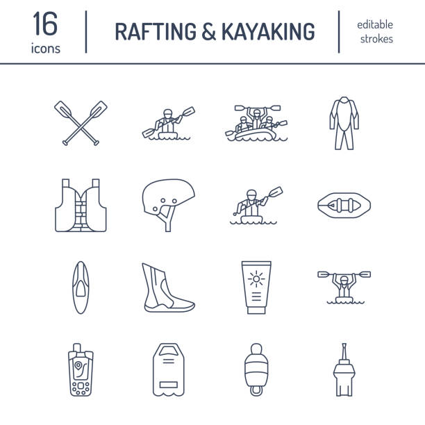 rafting, kayaking flat line icons. vector illustration of water sport equipment - river raft, kayak, canoe, paddles, life vest. linear signs set, summer recreation pictograms for paddling gear store - kayaking stock illustrations, clip art, cartoons, & icons