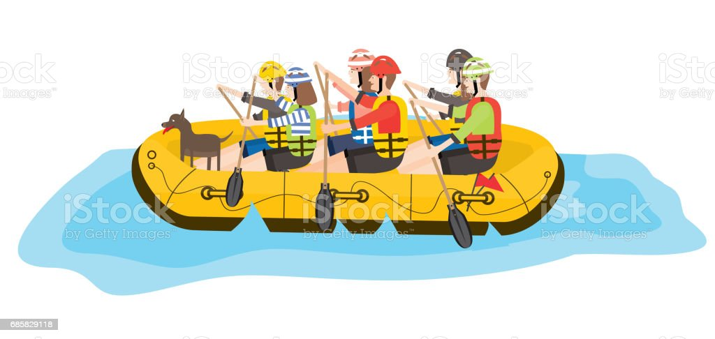 Rafting. Six People and Dog in Yellow Boat. vector art illustration