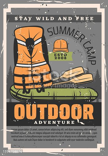 Rafting adventure training courses club and school. Vector vintage poster of rafting boat with paddles and rafter safety vest equipment, outdoor summer camp and sport activity