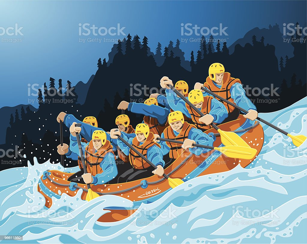Rafting Trip vector art illustration