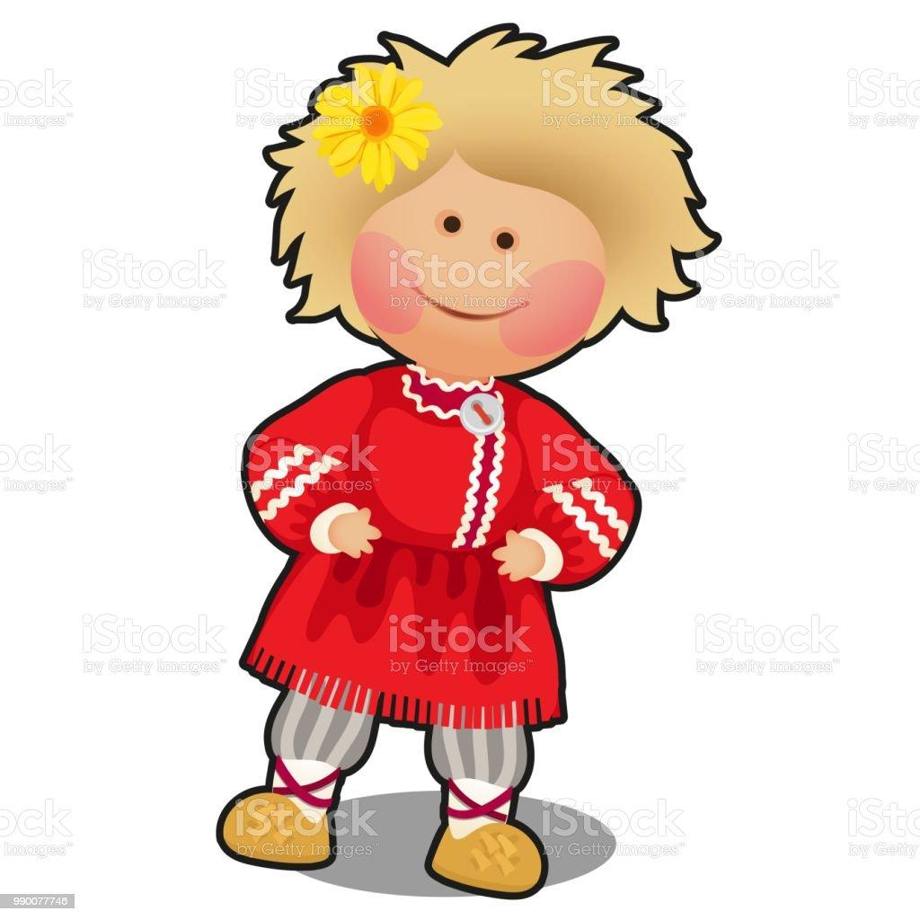 Stoffpuppe In Form Eines Jungen In Der Russischen Folklore Kleidung