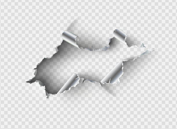 ragged hole torn in ripped metal on transparent background - metal stock illustrations