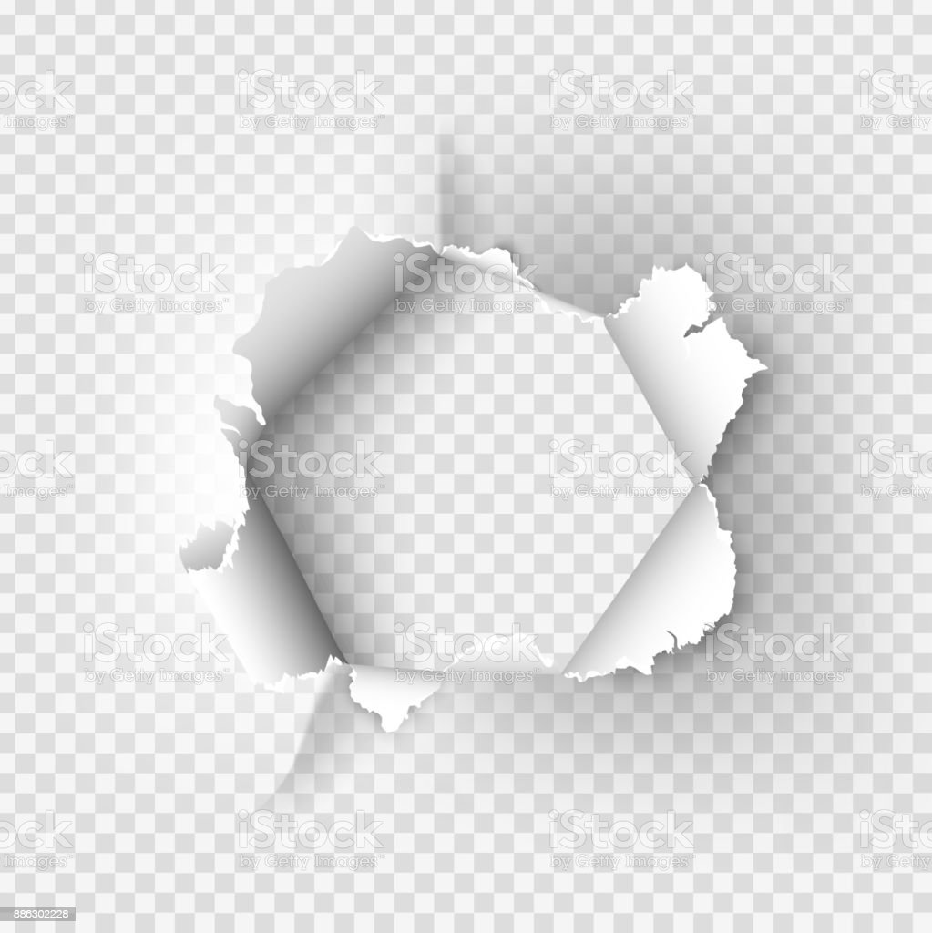 ragged Hole torn in ripped paper on transparent background vector art illustration