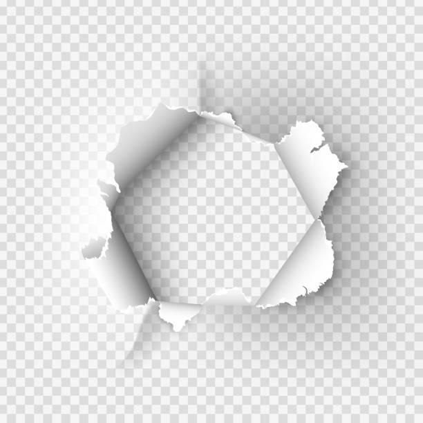 illustrazioni stock, clip art, cartoni animati e icone di tendenza di ragged hole torn in ripped paper on transparent background - foro