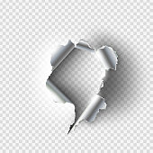 ragged Hole torn in ripped paper on transparent background