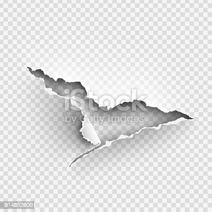 istock ragged Hole torn in ripped paper on transparent background 914852600