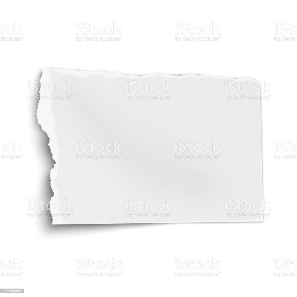 Ragged paper wisp with soft shadow isolated on white background. Vector template paper design. vector art illustration