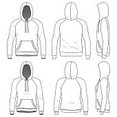 Blank Men's and Women's raglan hoodies in front, back and side views. Vector illustration. Isolated on white.