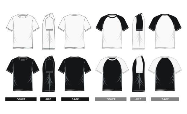 raglan sleeve shirt templates black white - white background stock illustrations