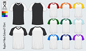 Raglan V-neck t-shirts templates. Set of colored sleeve jersey mockup in front view and back view for baseball, soccer, football , sportswear or casual wear. Vector illustration.