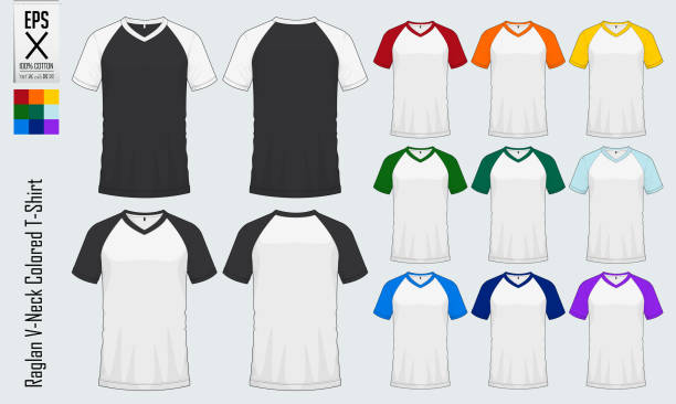 Royalty free v neck t shirt clip art vector images for 3 4 sleeve shirt template