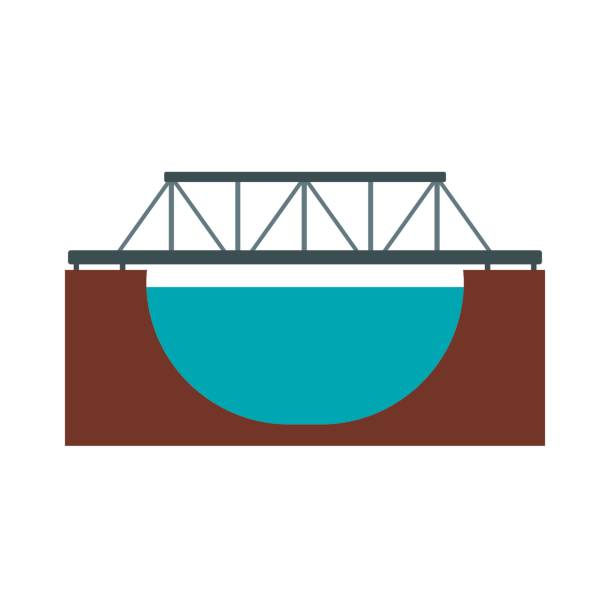 Rail bridge icon Rail bridge across the river icon in flat style isolated on white background railway bridge stock illustrations