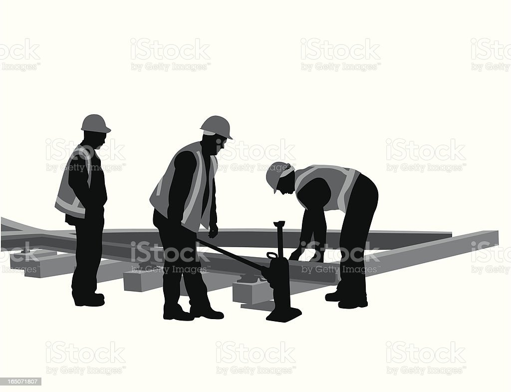 Rail Construction Vector Silhouette royalty-free rail construction vector silhouette stock vector art & more images of adult