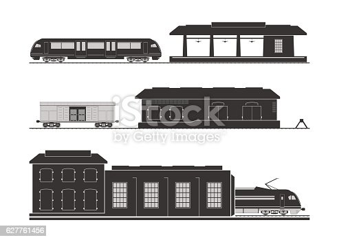 Rail infrastructure: railway station, goods shed and locomotive depot. Vector illustration.