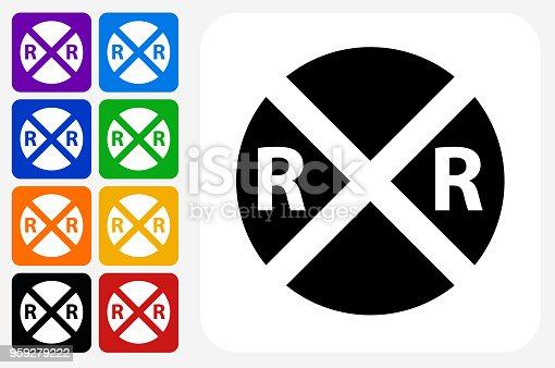 Rail Road Crossing Icon Square Button Set. The icon is in black on a white square with rounded corners. The are eight alternative button options on the left in purple, blue, navy, green, orange, yellow, black and red colors. The icon is in white against these vibrant backgrounds. The illustration is flat and will work well both online and in print.