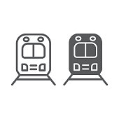 Rail road trip line and glyph icon, transport and railway, locomotive sign, vector graphics, a linear pattern on a white background.