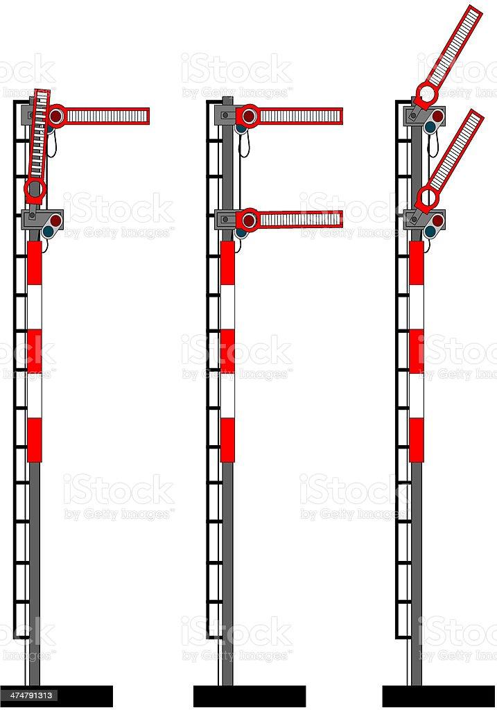 Rail semaphores vector art illustration