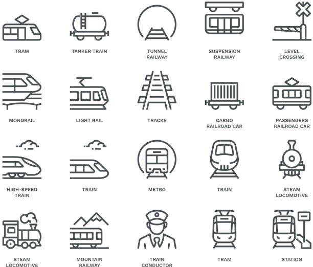 ikony transportu kolejowego, koncepcja monoline - przewóz stock illustrations