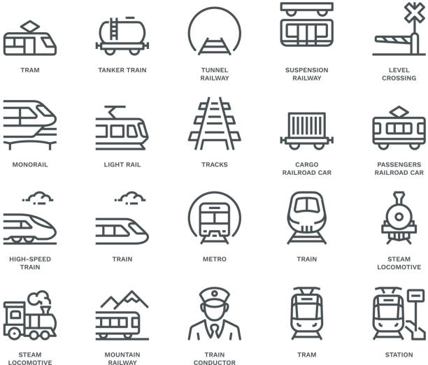 stockillustraties, clipart, cartoons en iconen met rail transport iconen, monoline concept - trein