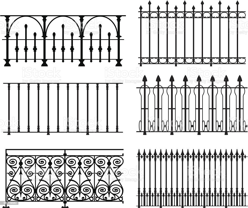 Railings and fences vector art illustration