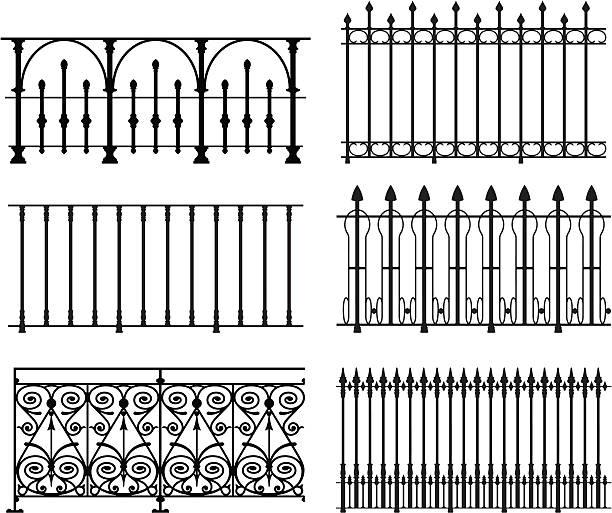 stockillustraties, clipart, cartoons en iconen met railings and fences - veiligheidshek