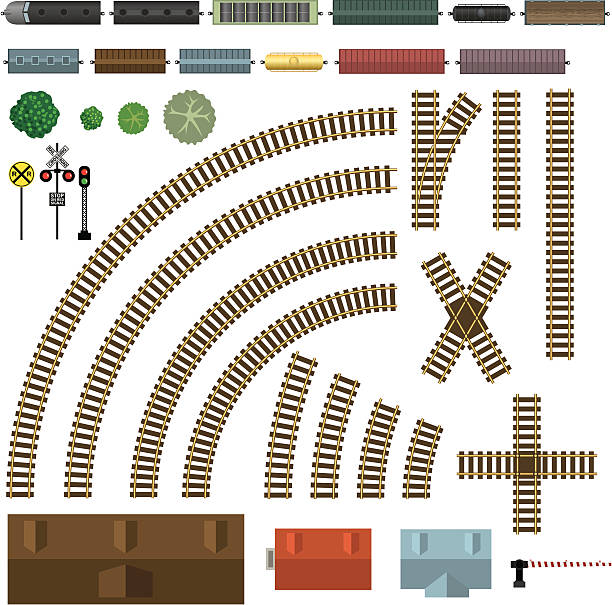 railroad and train components - railroad track stock illustrations, clip art, cartoons, & icons
