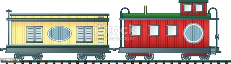Detailed vector illustration of a boxcar and caboose. Both cars and track are on separate named layers. Both cars have a blue oval or rectangle so you can personalize your railroad. If you're looking for a complete set, check out my Steam Locomotive and Tender (#56239890) and Railroad Passenger and Baggage Cars (#5624054) illustrations.