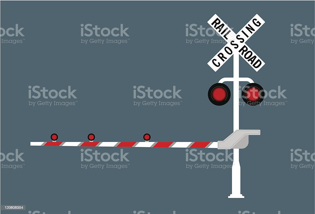 Railroad crossing sign in red and white vector art illustration