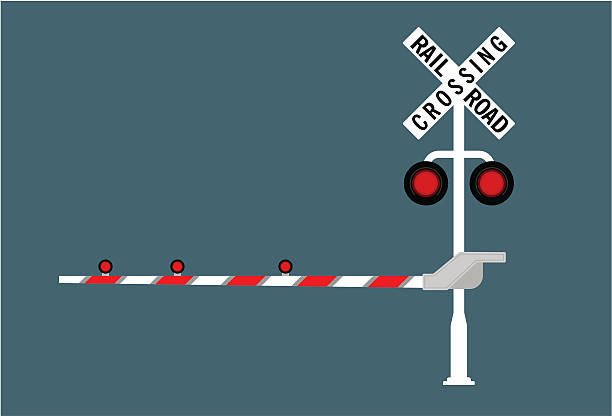 railroad crossing sign in red and white - crossing stock illustrations