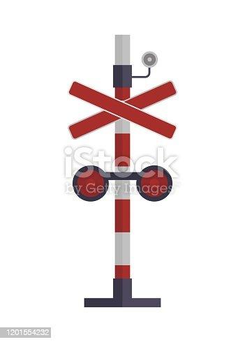 Simple flat illustration of railroad crossing sign