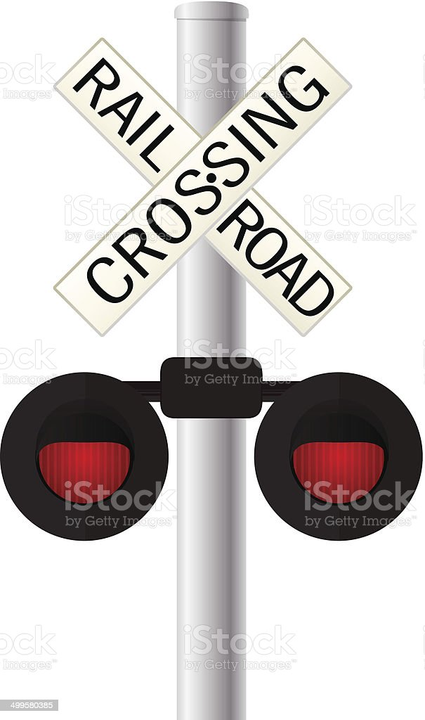 Railroad crossing sign vector art illustration