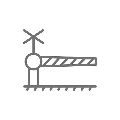 Railroad crossing with barrier, security gate line icon.