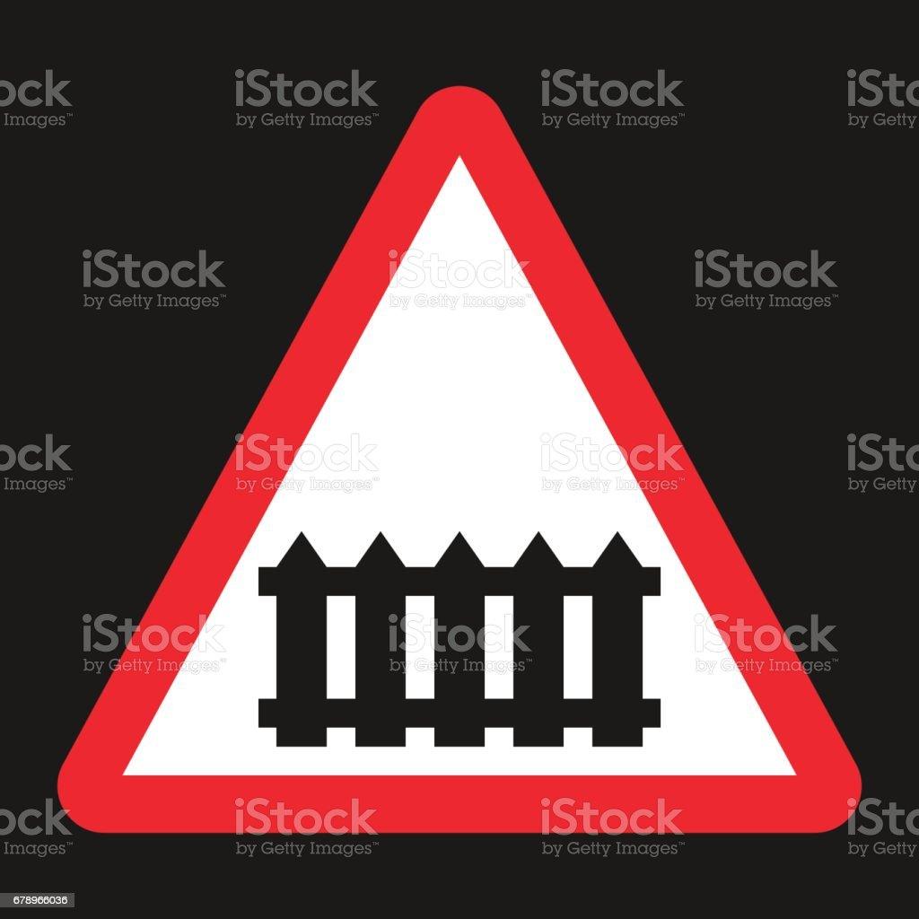 Passage à niveau avec icône plate signe de barrière passage à niveau avec icône plate signe de barrière – cliparts vectoriels et plus d'images de aspect métallique libre de droits