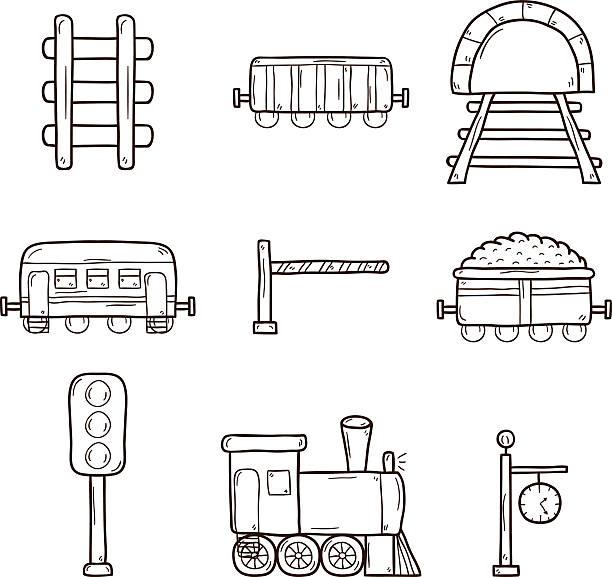 illustrazioni stock, clip art, cartoni animati e icone di tendenza di ferroviaria di icone disegnate a mano - subway