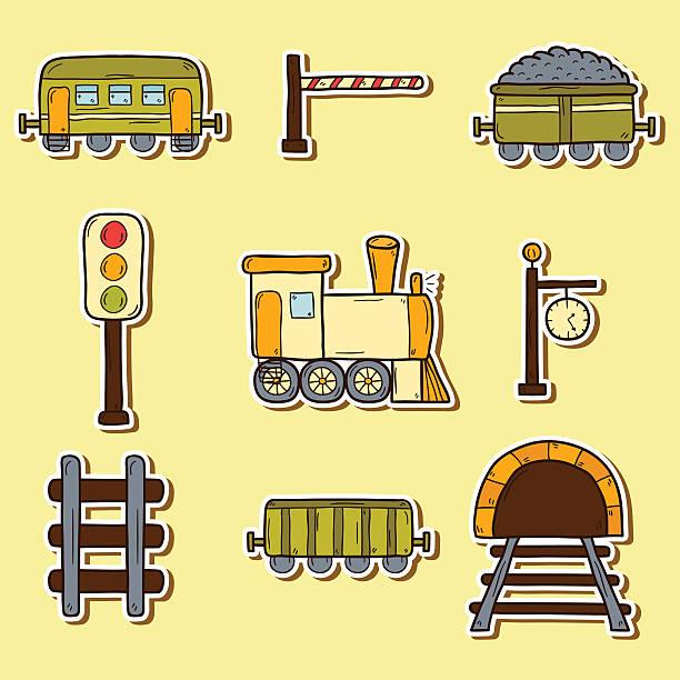 illustrazioni stock, clip art, cartoni animati e icone di tendenza di railroad disegno a mano adesivi - subway