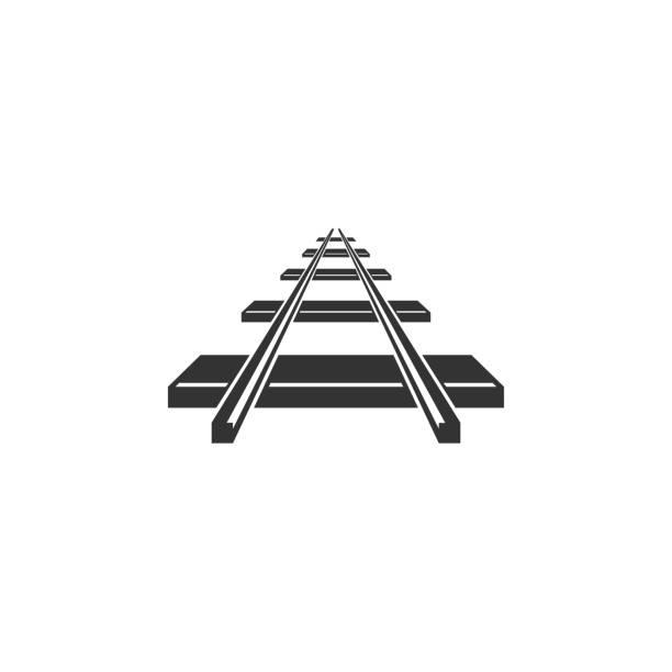 illustrations, cliparts, dessins animés et icônes de icône de chemin de fer isolé. design plat. illustration vectorielle - voie ferrée