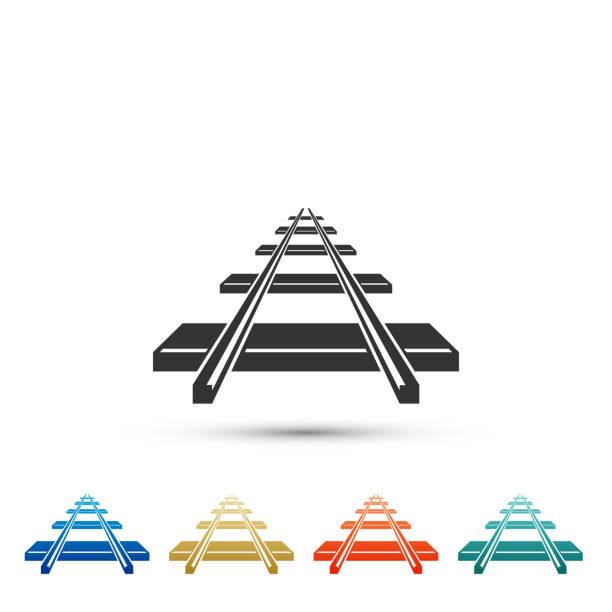 illustrations, cliparts, dessins animés et icônes de icône de chemin de fer isolé sur fond blanc. définir des éléments dans les icônes de couleur. design plat. illustration vectorielle - voie ferrée