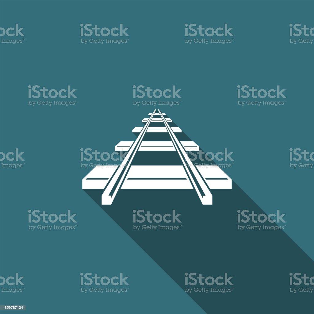 Eisenbahn-Symbol isoliert mit langen Schatten. Flaches Design. Vektor-Illustration – Vektorgrafik